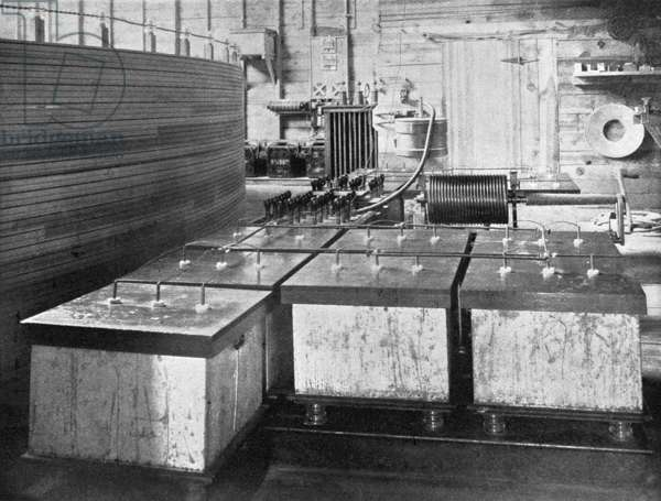 TESLA'S LABORATORY, c.1900 Essential part of the electrical oscillator used in the experiments in Nikola Tesla's laboratory in Colorado Springs, Colorado. Photograph by Dickenson V. Alley, c.1900.