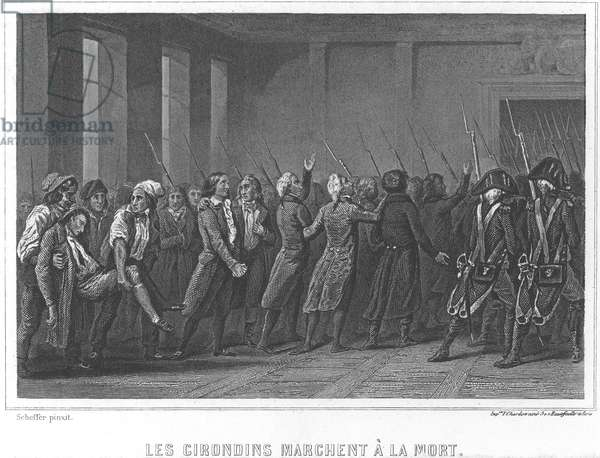 FRENCH REVOLUTION, 1793 Girondins marching to their death. Steel engraving, French, 19th century.