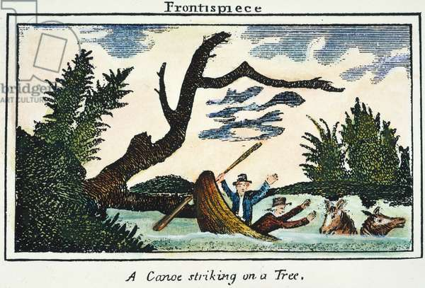 LEWIS & CLARK: CANOE, 1800s A canoe striking a tree during the Lewis & Clark expedition: coloured  engraving, 1811, from a contemporary account of the expedition.