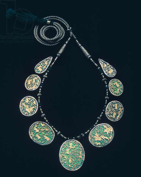 INDIA: JEWELRY Gold and silver necklace from India.