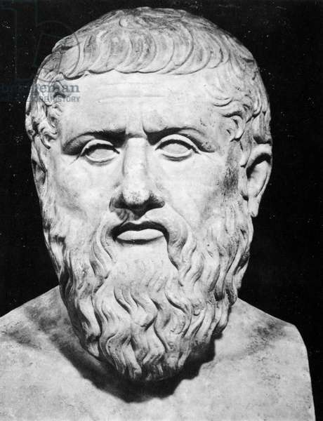 PLATO (c427 B.C.-c347 B.C.) Greek philosopher. Roman marble copy of a lost Greek bust of the 4th century B.C.