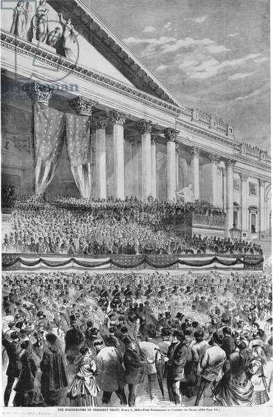 ULYSSES S. GRANT (1822-1885) The first inauguration of Ulysses S. Grant as 18th President of the United States at the Capitol in Washington D.C., March 4, 1869: wood engraving from a contemporary American newspaper.
