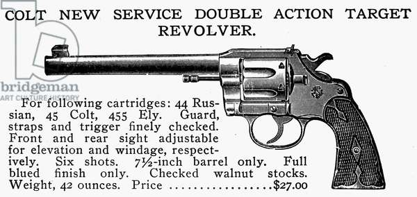 REVOLVER, 19th CENTURY Colt New Service Double Action Target Revolver. Line engraving, late 19th century.