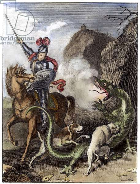 SAINT GEORGE & THE DRAGON Saint George and the Dragon. coloured  engraving, German, 19th century.