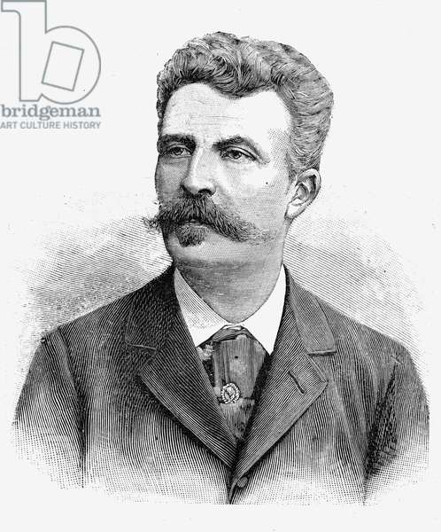 GUY DE MAUPASSANT (1850-1893). French writer. Wood engraving, 19th century.