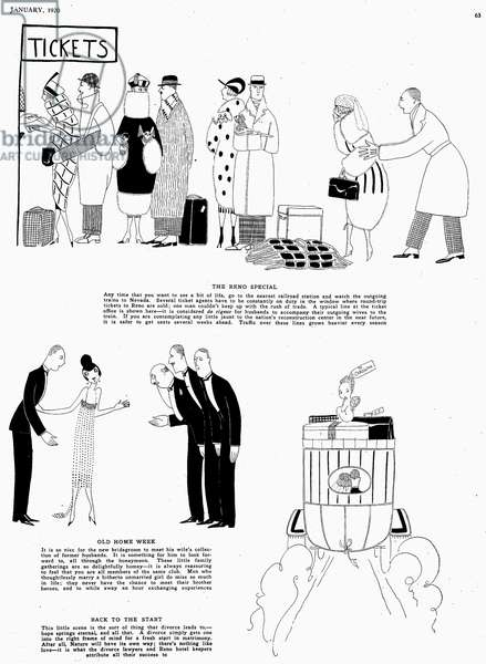PARKER: DIVORCE, 1920 'Our Great American Sport.' Page from 'Vanity Fair' magazine, January 1920, commenting on the rising divorce rate in the United States, with text by Dorothy Parker and illustrations by 'Fish.'
