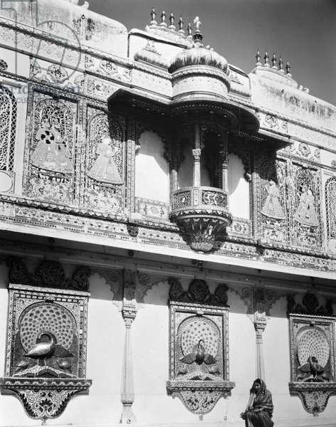 INDIA: UDAIPUR BUILDING Exterior wall of an ornately decorated building at Udaipur, India. Photograph, early 20th century.