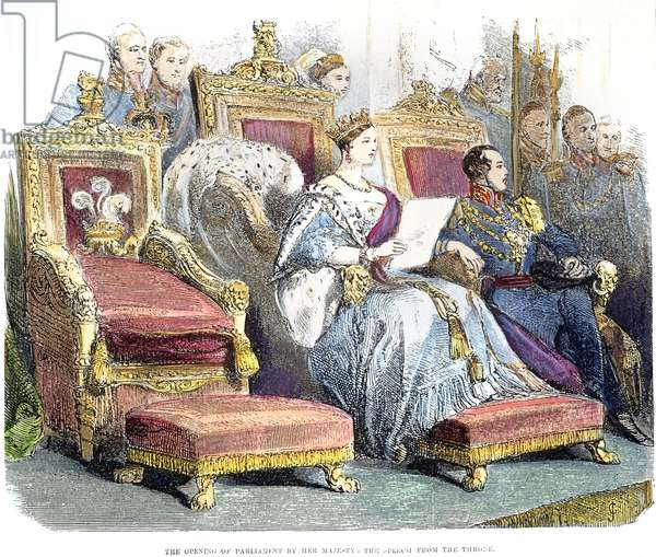 VICTORIA OF ENGLAND, 1846 Queen Victoria of England (1819-1901) opening Parliament in 1846. Contemporary English wood engraving.