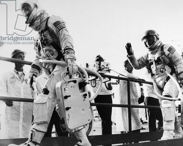 GEMINI IV ASTRONAUTS, 1965 Gemini IV command pilot James McDivitt (left) and pilot Edward White walking up the ramp to their spacecraft before launch at Cape Kennedy, Florida, 3 June 1965.