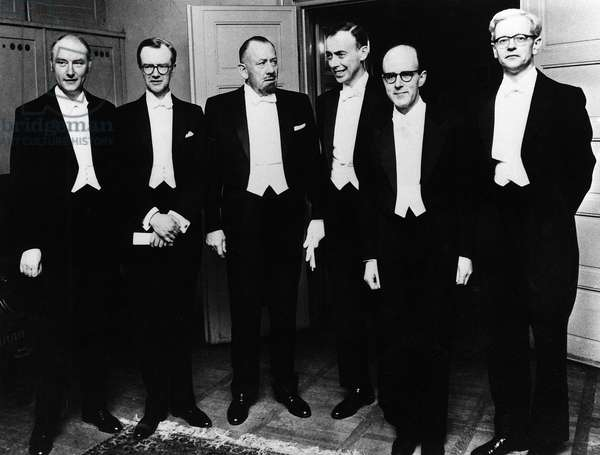 NOBEL PRIZE WINNERS, 1962 Nobel Prize winners at the ceremony in Stockholm, Sweden, 1962. Left to right: British biophysicist Francis Crick, New Zealand-born British biophysicist Maurice Wilkins, American writer John Steinbeck, American geneticist James Watson, Austrian-British biochemist Max Perutz and British biochemist John Kendrew.