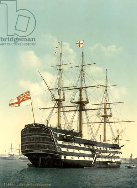 NELSON: HMS VICTORY A view of the HMS Victory, Lord Horation Nelson's flagship, Portsmouth, England. Photochrome, c.1900.