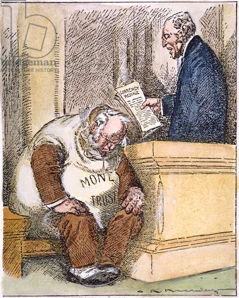 WILSON CARTOON, 1913 'Reading the Death Warrant.' Cartoon, 1913, by Charles R. Macauley on U.S. President Woodrow Wilson's currency message to Congress which resulted in the passage of the Federal Reserve Act.