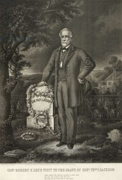 ROBERT E. LEE (1807-1870) American Confederate general. Lee visiting the grave of General Thomas 'Stonewall' Jackson at Lexington, Virginia. Lithograph, 19th century.