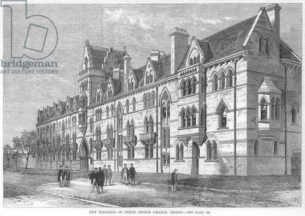 OXFORD UNIVERSITY, 1869 The new buildings of Christ Church College, Oxford: wood engraving, English, 1869.