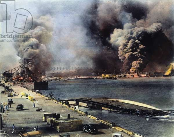 WWII: PEARL HARBOR Scene after the Japanese attack on 7 December 1941.