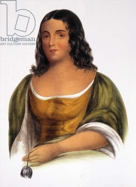 POCAHONTAS (1595?-1617) Native American princess. Lithograph, c.1836-44.