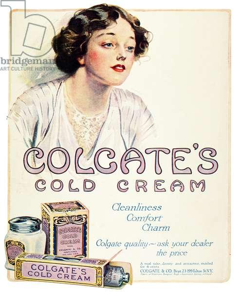COLD CREAM, 1914 American magazine advertisement for Colgate's Cold Cream, 1914.