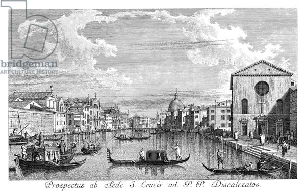 VENICE: GRAND CANAL, 1735 The Grand Canal in Venice, Italy, looking north-east from Santa Croce to San Geremia. The dome of San Simeone Piccolo is in the distance. Engraving, 1735, by Antonio Visentini after Canaletto.