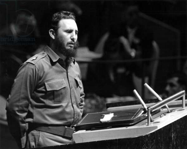 FIDEL CASTRO (1926-) Cuban revolutionary leader. Addressing the General Assembly of the United Nations in New York City, 1960.