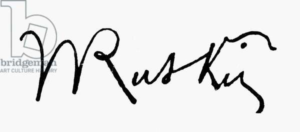 JOHN RUSKIN (1819-1900) English critic. Autograph signature.