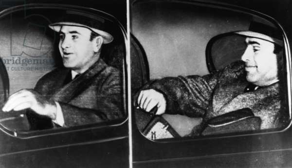 AL CAPONE (1899-1947) American gangster. Photographed en route from Harrisburg to Lewisberg, Pennsylvania, 1939.