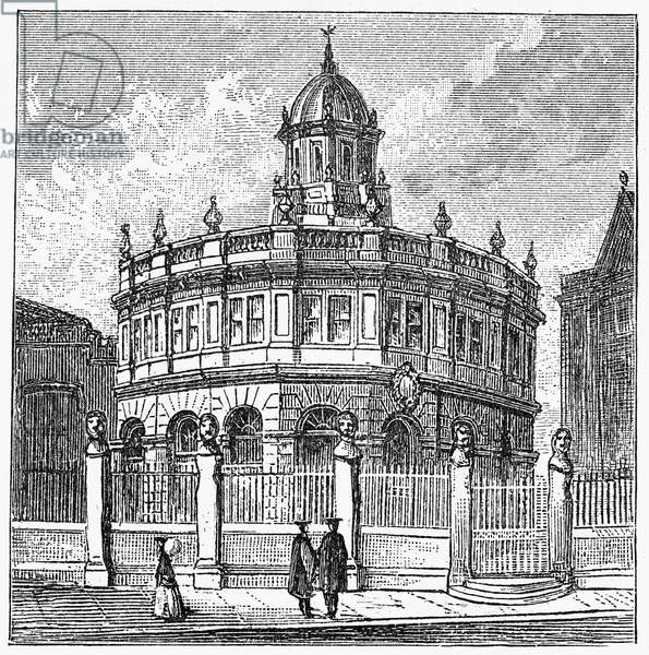 OXFORD: THEATRE View of the Sheldonian Theatre on the campus of Oxford University, Oxford, England, designed by Sir Christopher Wren and completed in 1669. Wood engraving, English, c.1885.