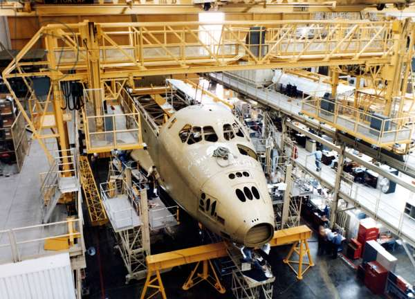 SPACE SHUTTLE CONSTRUCTION Construction of a NASA Space Shuttle.
