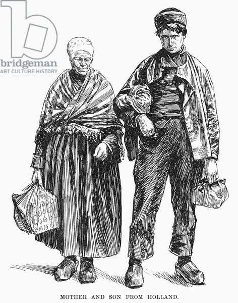 DUTCH IMMIGRANTS, 1892 Mother and son, immigrants from Holland, at Ellis Island in New York Harbor. Wood engraving, American, 1892.