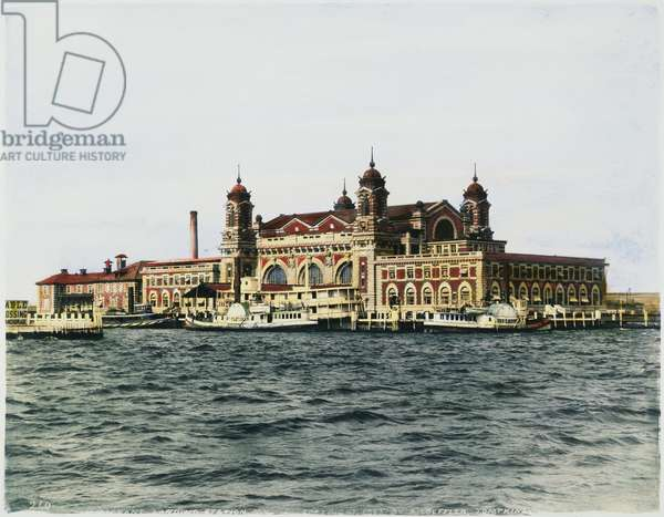 ELLIS ISLAND, 1905 The immigrant landing station at Ellis Island, in Upper New York Bay, 1905. Oil over a photograph.