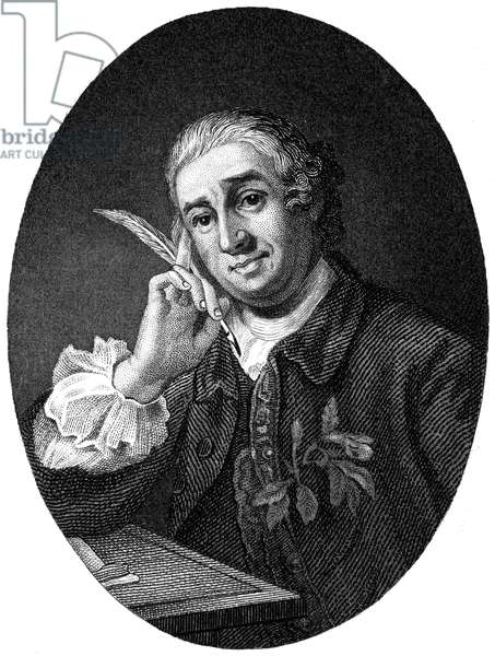 DAVID GARRICK (1717-1779) English actor, producer, and dramatist. Steel engraving, English, 19th century, after William Hogarth.