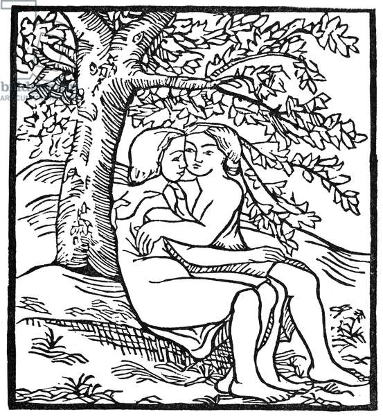 DAPHNIS AND CHLOE Woodcut by Aristide Maillol (1861-1944).