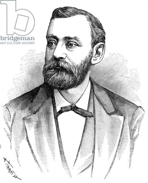 ALFRED NOBEL (1833-1896) Swedish chemist and engineer. Line engraving 1896.