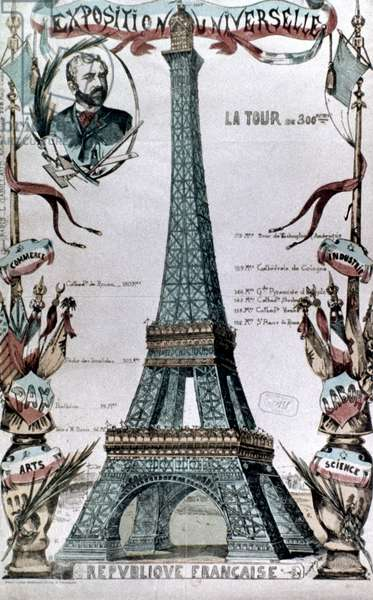 PARIS: EIFFEL TOWER, 1889 The Eiffel Tower at the Universal Exposition of 1889: contemporary French coloured  engraving.