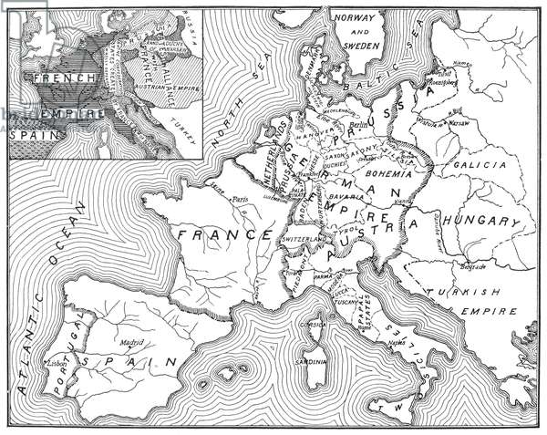 MAP OF EUROPE, 1812-1815 An American map of 1905 comparing the political landscape of Europe before and after the 1815 Congress of Vienna.