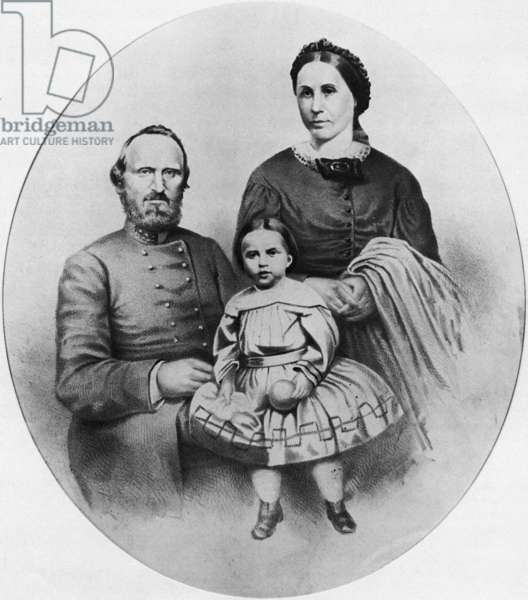 STONEWALL JACKSON (1824-1863). Thomas Jonathan 'Stonewall' Jackson. American Confederate general. With his wife Mary Anna and daughter Julia. Lithograph, mid 19th century.
