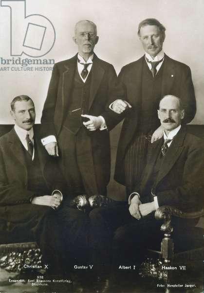 FOUR EUROPEAN KINGS, c. 1920. Standing: Gustav V of Sweden (left) and Albert I of Belgium (right). Seated: Christian X of Denmark (left) and Haakon VII of Norway (right).