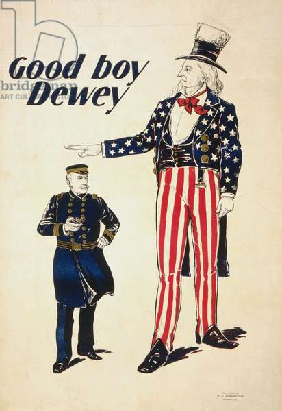 WWI: POSTER, c.1916 'Good boy, Dewey.' American poster showing Uncle Sam and Admiral George Dewey. Lithograph, c.1916.
