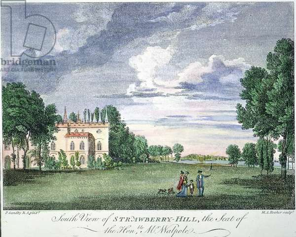 WALPOLE HOME, 1775. Strawberry Hill, the residence of Horace Walpole, Fourth Earl of Orford (1717-1797). Copper engraving, 1775, after Paul Sandby.