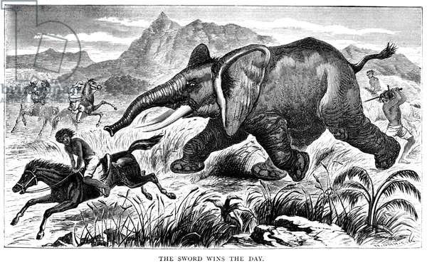 SAMUEL WHITE BAKER (1821-1893). English explorer. 'The Sword Wins the Day.' Baker (in the background, left) watches as a member of his hunting party flees a charging elephant and another strikes it with a sword. Line engraving by Nathaniel Orr from Baker's 'Exploration of the Nile Tributaries of Abyssinia,' 1868.