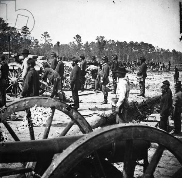 CIVIL WAR: UNION ARTILLERY A Union artillery battery during the American Civil War.