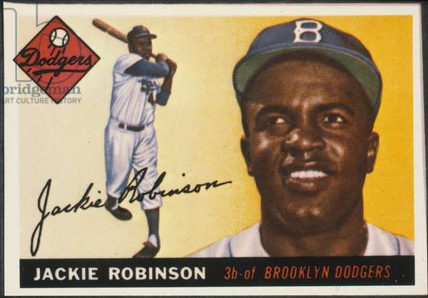 JACKIE ROBINSON (1919-1972) John Roosevelt Robinson, known as Jackie. American baseball player. Robinson as a member of the Brooklyn Dodgers on a 1955 baseball card.