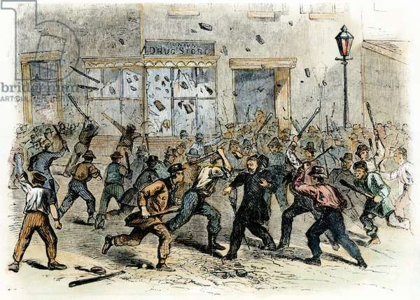 CIVIL WAR: DRAFT RIOTS An unruly mob during the New York City Draft Riots of July 13-16, 1863: contemporary wood engraving.