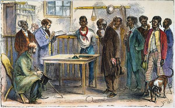 RECONSTRUCTION, 1867 Freedmen in a voter registration office at Macon, Georgia. Wood engraving from an American newspaper of 1867.