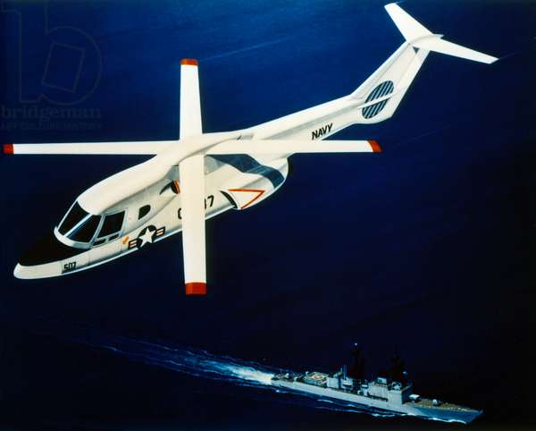 U.S. NAVY HELICOPTER Helicopter developed by NASA and the U.S. Navy. Illustration, c.1970.