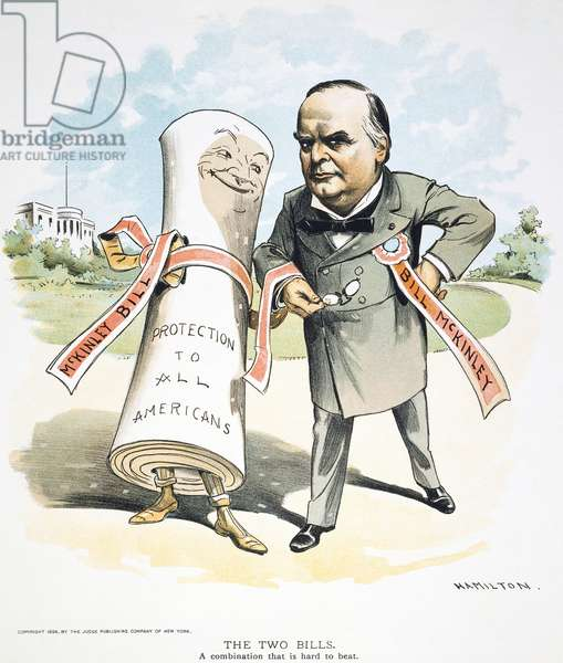 W. McKINLEY CARTOON, 1896 American cartoon, 1896, by Grant Hamilton of William McKinley as the candidate of protection and prosperity.