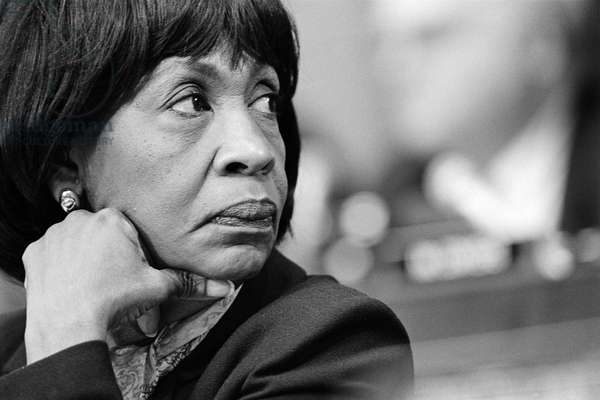 MAXINE WATERS (1938- ) American politician. Photographed during a hearing related to the impeachment of President Bill Clinton, 1998.