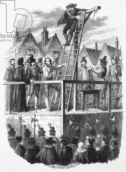 EXECUTION OF GUY FAWKES The execution of Guy Fawkes (1570-1606) on 31 January 1606, after the discovery of the 'Gunpowder Plot' to blow up the Houses of Parliament. Etching by George Cruikshank.
