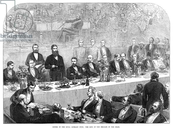 ROYAL LITERARY FUND, 1872 Dinner reception of the Royal Literary Fund in England, with King Leopold II of Belgium standing at the chair. Wood engraving, English, 1872.