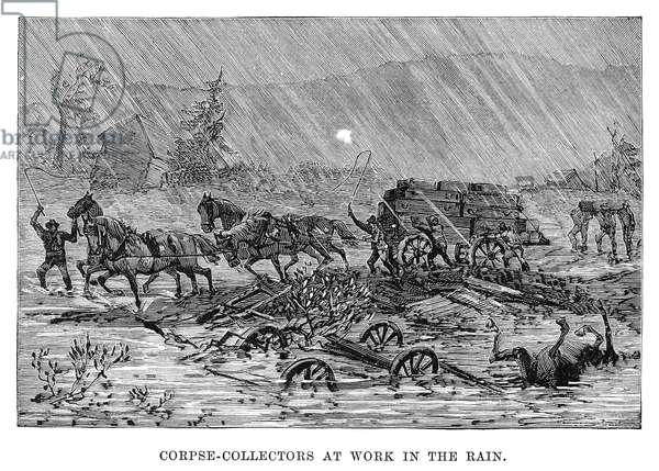 JOHNSTOWN FLOOD, 1889 'Corpse-collectors at work in the rain.' Engraving, 1889.