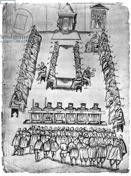 MARY, QUEEN OF SCOTS (1542-1587). Mary Stuart, Queen of Scotland, 1542-1567. The Trial of Mary, Queen of Scots. Pen and ink sketch of the arrangements made for the trial at Fotheringhay Castle, October 14-15, 1586. The Scottish Queen is shown seated on the right (A).